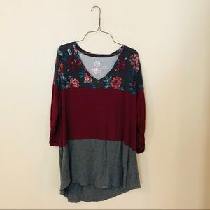 Maurice's Color Blocked Floral Top